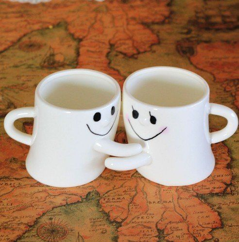 Valentine's Day Gifts for Him--City Block Adorable Couple Milk and Coffee Mug Great Gift for Love..THIS IS THE CUTEST