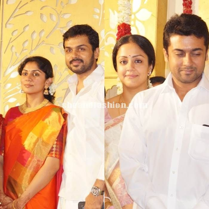 Jyothika and Karthi wife Ranjini in silk sarees for SR Prabhu and Deepthi wedding