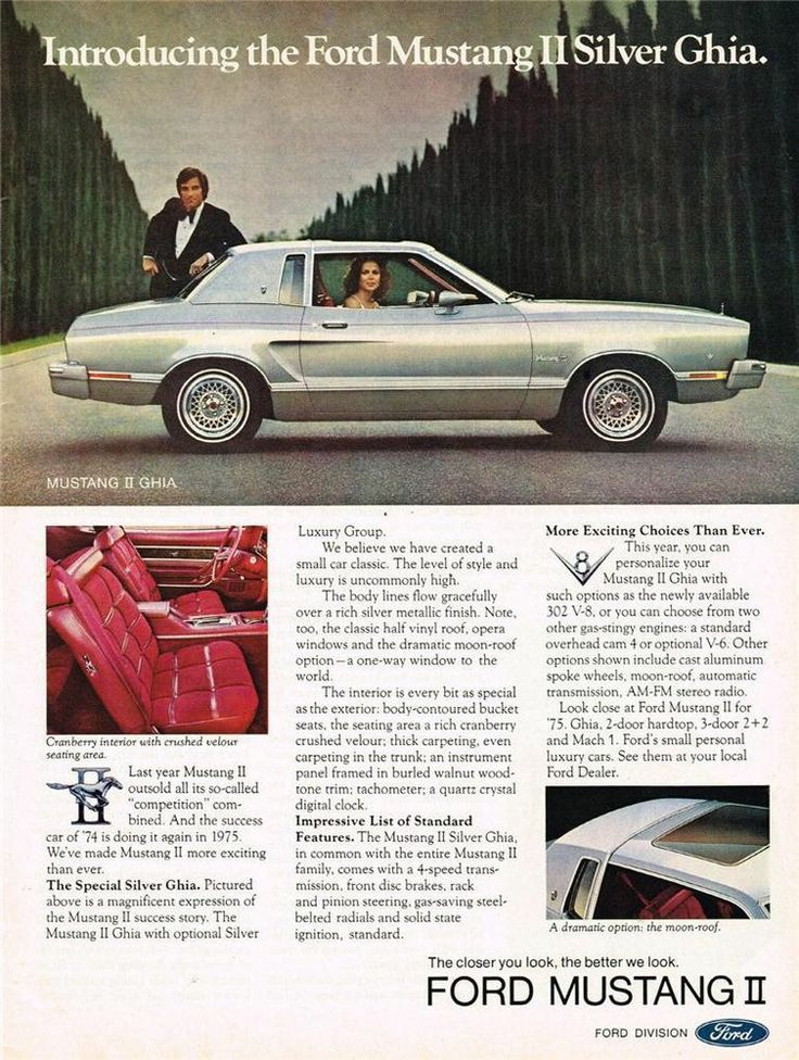 1975 Ford Mustang II Silver Ghia Vintage Car Print Advertisement  sc 1 st  Pinterest & 465 best Ford Advertisements images on Pinterest | Vintage cars ... markmcfarlin.com