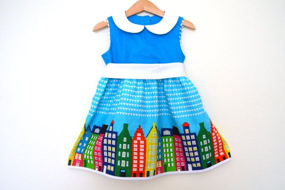 AMSTERDAM SKIES girls handmade linen dress with peter by melimelon, £32.00