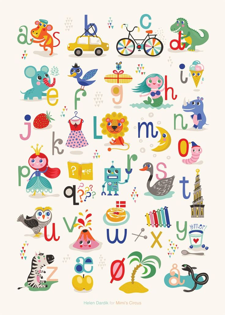 Køb By MIMI'S CIRCUS: Mimi's ABC plakat By Helen Dardik (50 x 70 cm) her - Mimi´s Circus