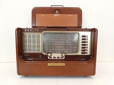 VINTAGE-1950s-ZENITH-SHORTWAVE-BROWN-LEATHER-ANTIQUE-TRANSOCEANIC-RADIO