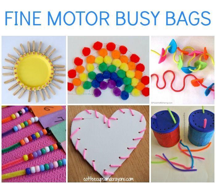 Practice Fine Motor Skills with Preschool and Kindergarten Busy Bags! http://www.coffeecupsandcrayons.com/fine-motor-busy-bags-kids/