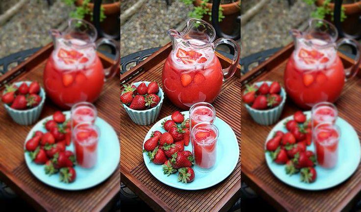 Limonada granizada de fresa y sandía