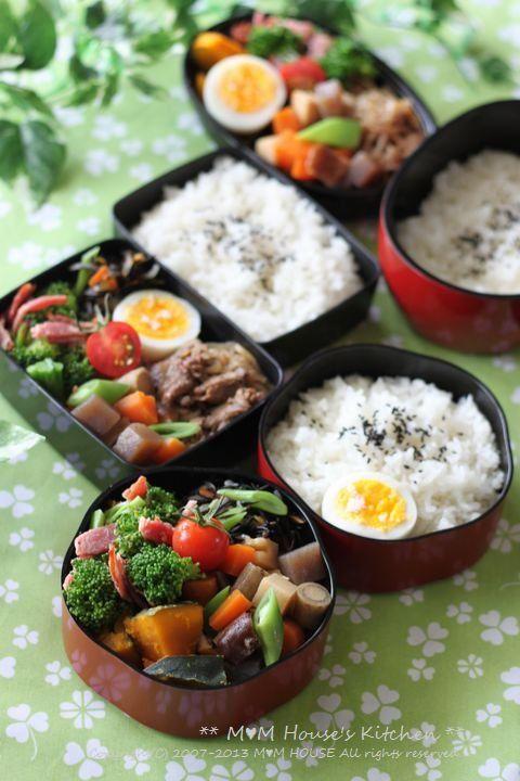日本人のごはん/お弁当 Japanese meals/Bento 五目煮弁当 ☆
