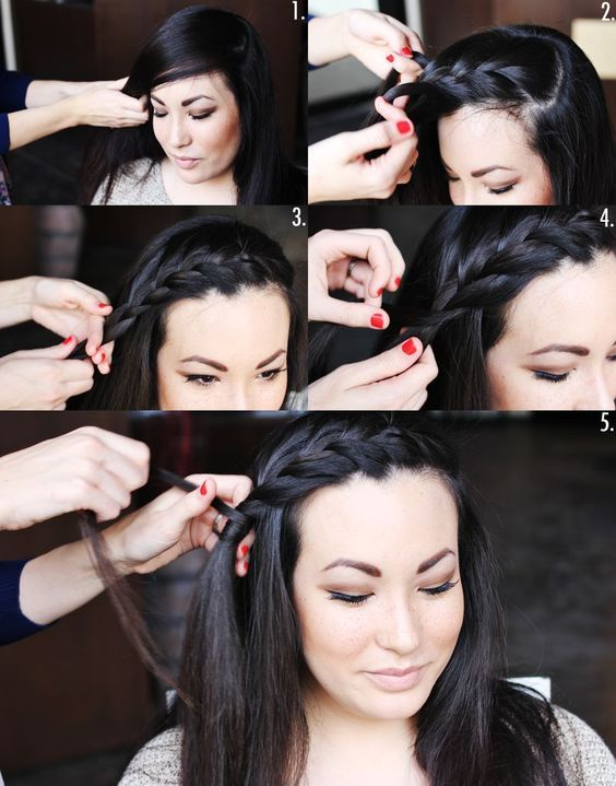 1. Gather a large section of your hair starting from one side of the crown of your head and sweeping to the other side. 2. Begin braiding three small strands from the top of this section. 3. As you braid add more strands from the original section. 4. Be sure to braid so that your hair wraps around the top of your head. 5. Finish by wrapping one strand around the entire braid, securing it in place.