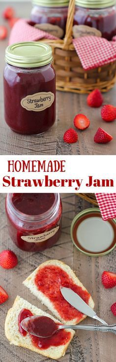 Homemade Strawberry Jam with much less sugar than most typical jam recipes and you can use both fresh or frozen berries.