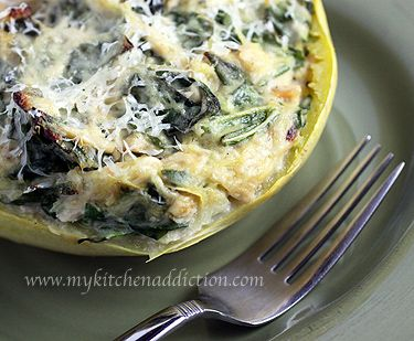 Creamy Gorgonzola Spaghetti Squash with Chicken and Collards