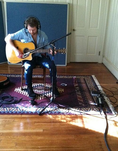 BK recording acoustic in the studio | Flickr - Photo Sharing!    Brandon Kirkley and the Firecrackers BKTF BKTF.net