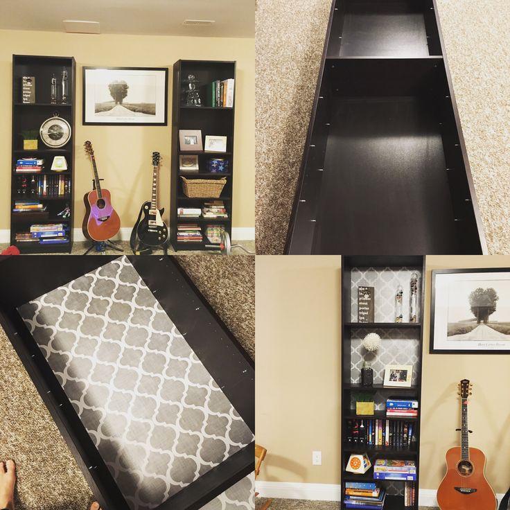Wallpapering an IKEA billy bookcase