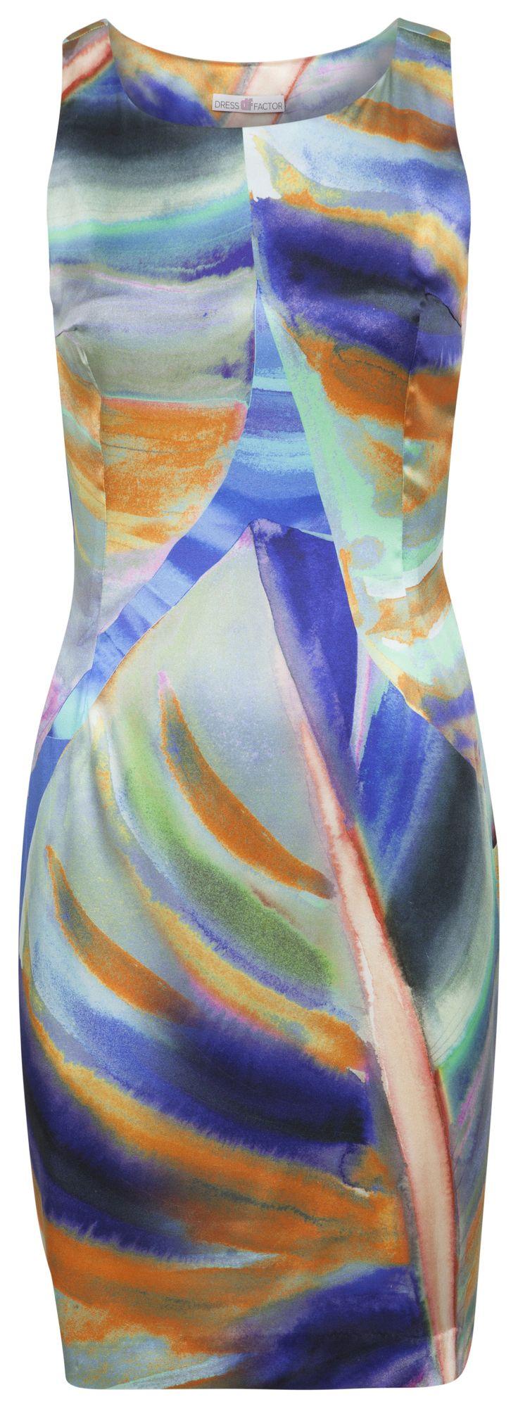 Dressfactor F-lijn jurk zijde tropical