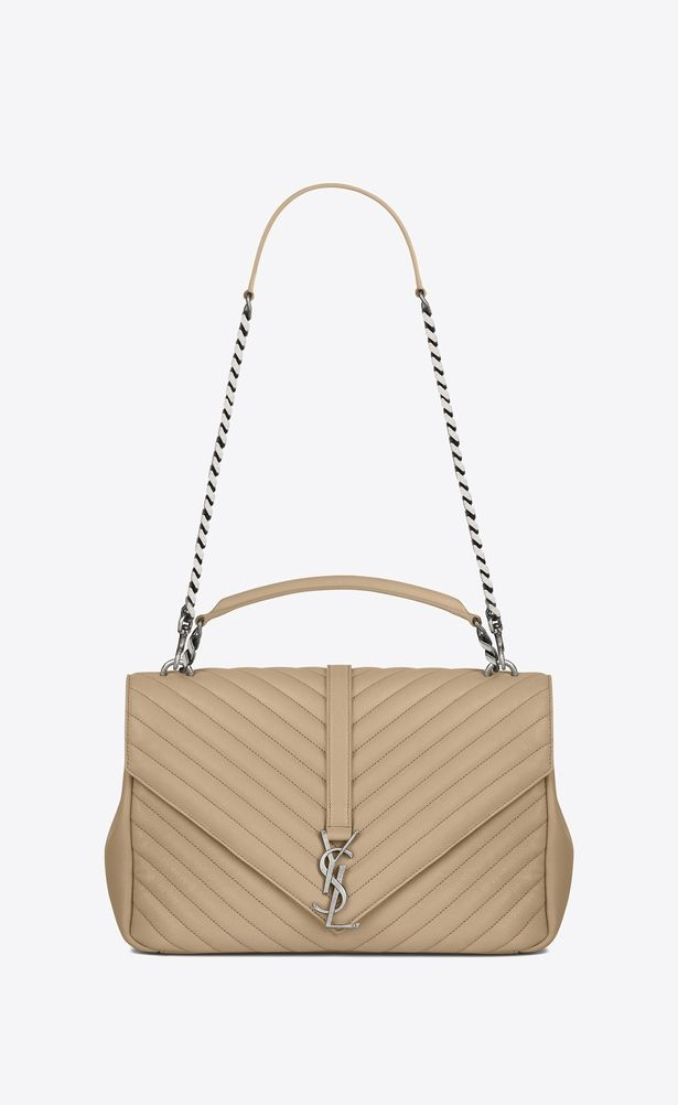 9fc5c2551d2b SAINT LAURENT Monogram College Woman large collège bag in dark beige matelassé  leather a V4
