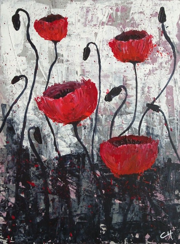 Cre Cha Tyf » Poppies Just fun to look at.  Acryl (paletmes) op canvasboard   –   30 x 40 cm