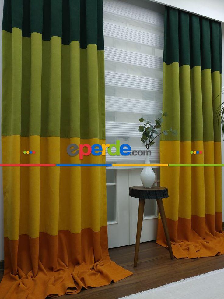 Kombinli Fon Perde - Yeşil+Sarı+Turuncu