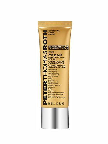 Peter Thomas Roth CC Cream Broad Spectrum SPF 30 Complexion Corrector We love a good multitasking BB or CC cream, and this pick one-ups all of the other formulas that merely offer coverage, moisture, and maybe some sunscreen. Sure, it does all of those things—but it also fights hyperpigmentation and provides a protective antioxidant boost (that'd be the camu camu at work). Plus, the sun protection in it comes from physical blockers, if you're into that sort of thing. There is one downside…