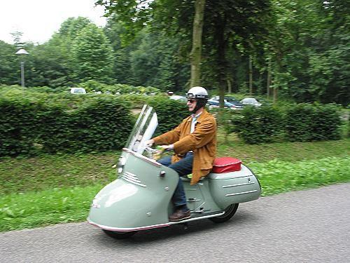"Maico-Mobil - Das MOTORRAD, presented in the year 1950: ""Auto mit den zwei Raedern"" - ""Car with two wheels"";"