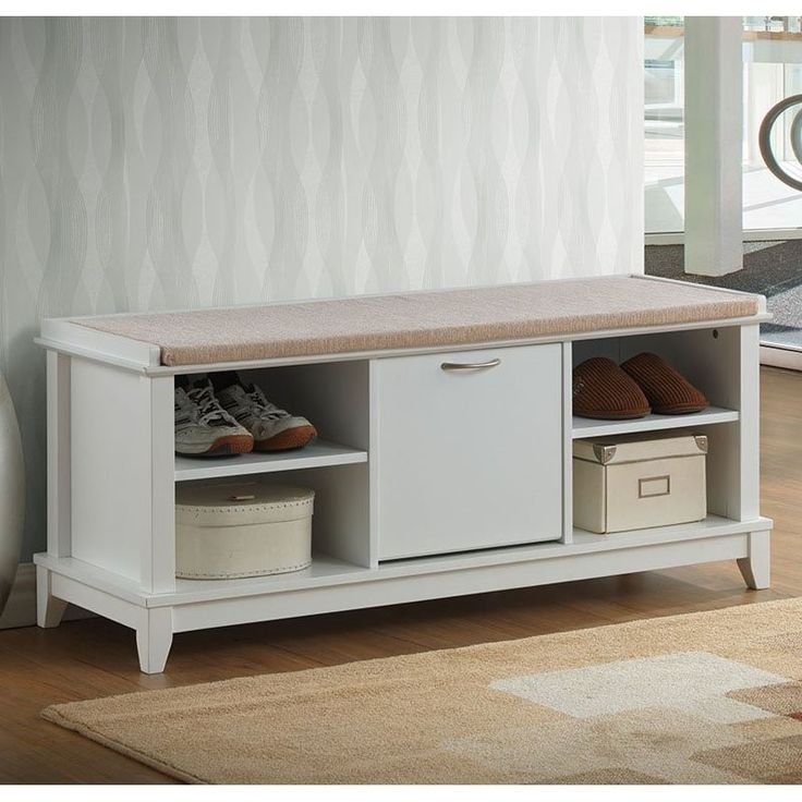 ramos white solid wood shoe storage bench with beige cotton fabric upholstered seat cushions with foam padding
