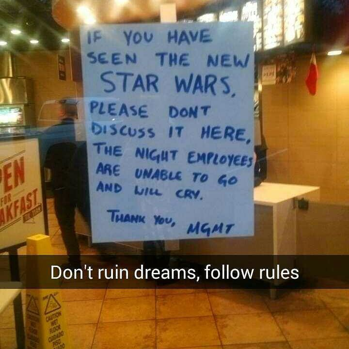 Local Taco Bell Prohibits talking about STAR WARS.