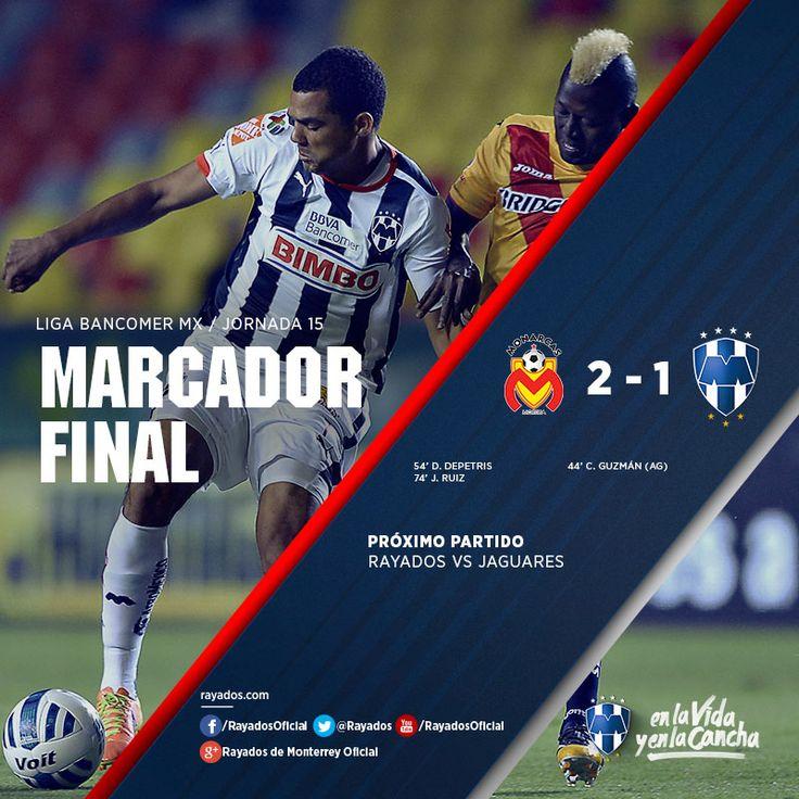 Finaliza el partido. Marcador: Monarcas Morelia 2-1 Club de Futbol Monterrey  La asistencia en el Estadio Morelos fue de 7,718 personas. Próximo partido vs. Jaguares el 8 de noviembre a las 19:00hrs., en el Estadio Tecnológico.  Gracias por acompañarnos #EnLaVidayEnLaCancha.
