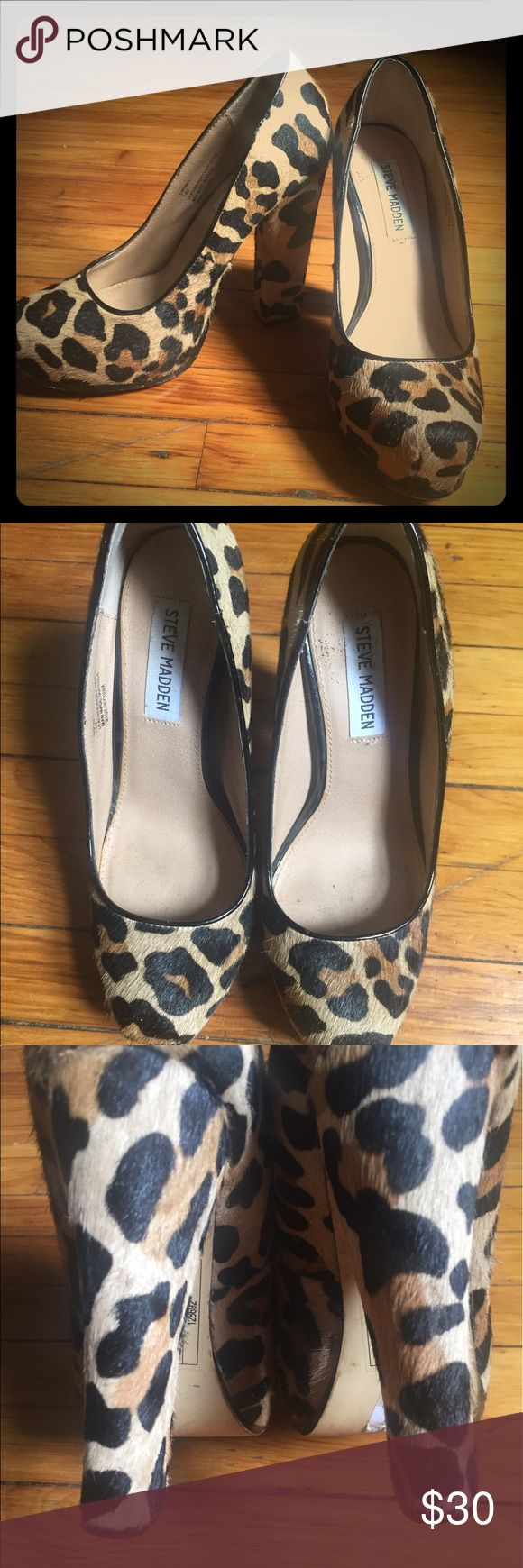 Steve Madden pony hair heels So cute!! Steve Madden pony hair heels are on trend and go with everything! Worn a handful of times and still look great! Some fraying on the back of the right shoe but not noticeable at all! Steve Madden Shoes Heels
