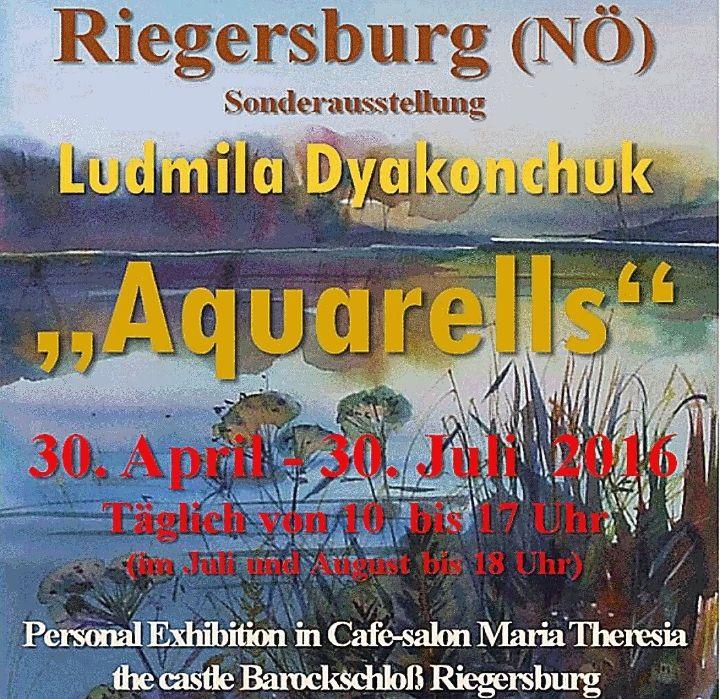 """Aquarells"" - výstava akvarelů Ludmily Dyakonchuk @ Riegersburg - 29-Duben https://www.evensi.cz/aquarells-vystava-akvarelu-ludmily-dyakonchuk-riegersburg/174993263"