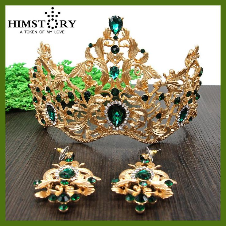HIMSTORY European Retro Gold Vetiver Irises Wedding Hair Crown ,Green Rhinestones Bridal Quinceanera Pageant Tiaras