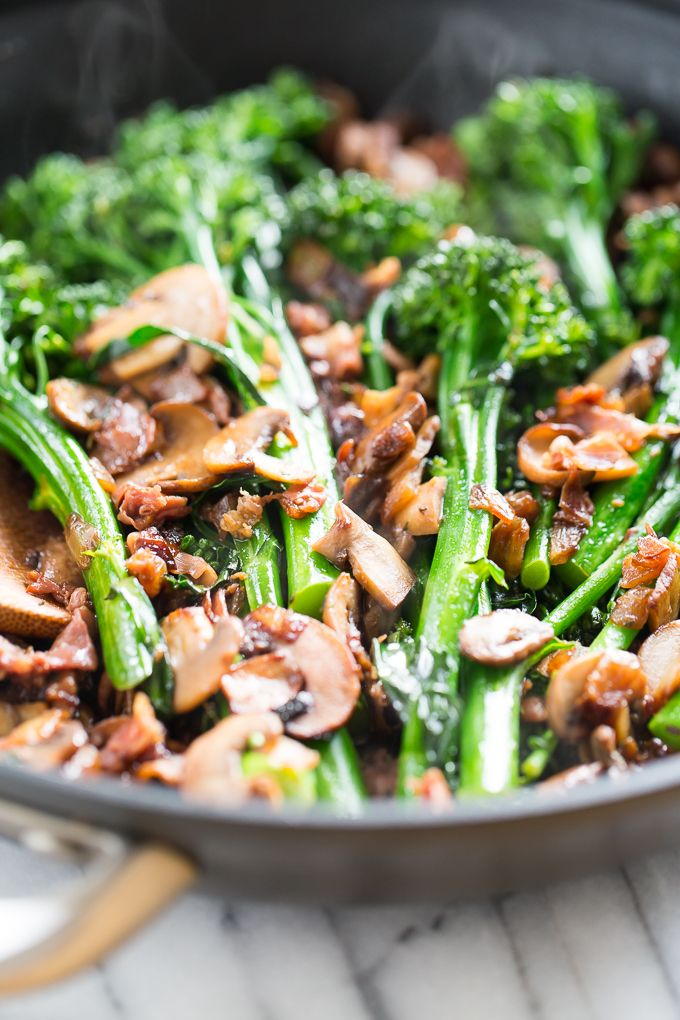 Sautéed Broccoli Rabe with Prosciutto, Mushrooms, and Caramelized Onions | Get Inspired Everyday!