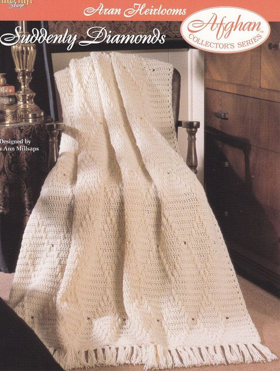 Aran Afghan Crochet Pattern Suddenly Diamonds by PaperButtercup