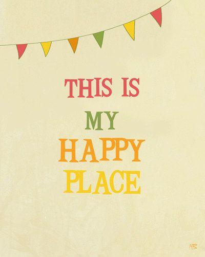 My Happy Place typography art print, happy quote, room decor, studio wall art, office decor, living room art, light beige, orange, yellow. $15.00, via Etsy.