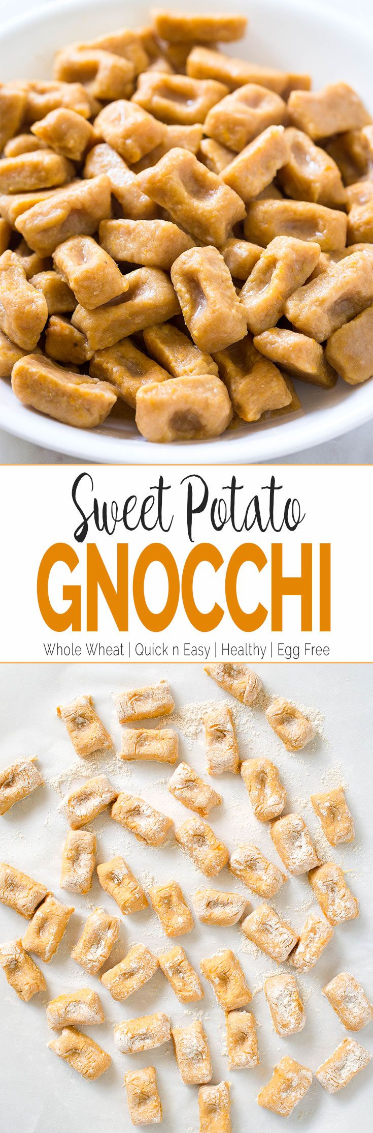 Homemade sweet potato gnocchi made using whole grain flour blend and fresh sweet potato puree. You will never want to buy gnocchi from the stores once you try this. #pasta #healthyrecipes #sweetpotato #vegan #fall