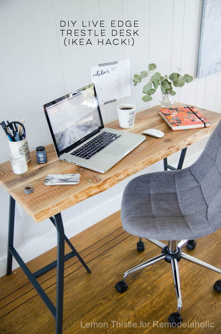 IKEA Hack: Easy DIY Live Edge Desk with Trestle Legs