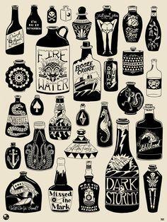 old school booze bottle - Google Search