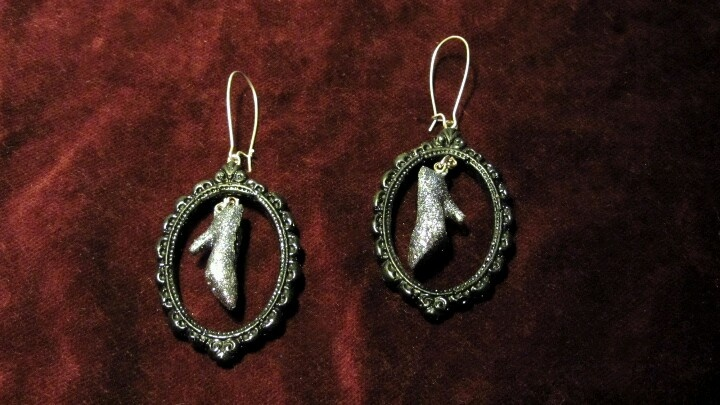 The slipper of Cinderella. Handmade earrings
