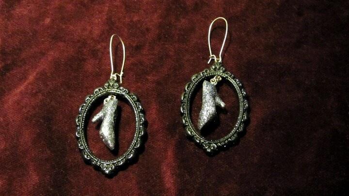 The slipper of Cinderella. Handmade earrings