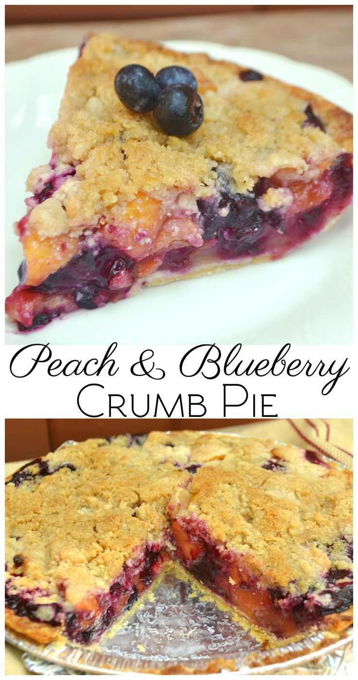 Peach & Blueberry Crumb Pie. Made with perfectly juicy, ripe, sweet peaches & plump sweet blueberries | www.craftycookingmama.com