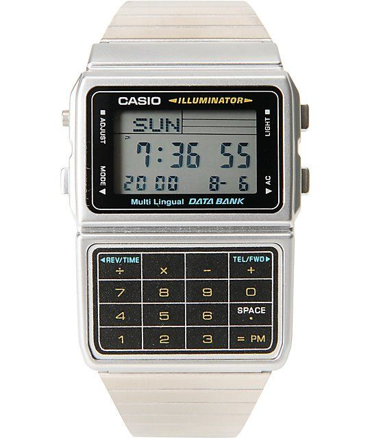 Bringing back a true classic with the vintage-style Casio Databank watch in the silver tone colorway.