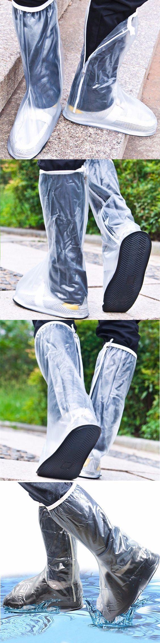 US$8.32 Men Women Rain Shoes Cover Waterproof High Boots Flats Slip-resistant Overshoes Rain Gear