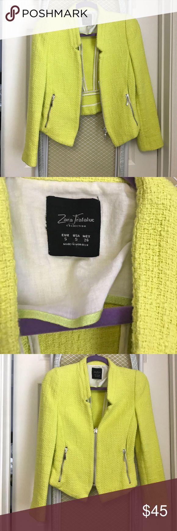 Zara jacket small Small Zara tweed like lime green jacket Zara Jackets & Coats