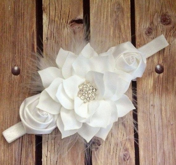 White headband feather headband baptism headband by Heavenandhalos