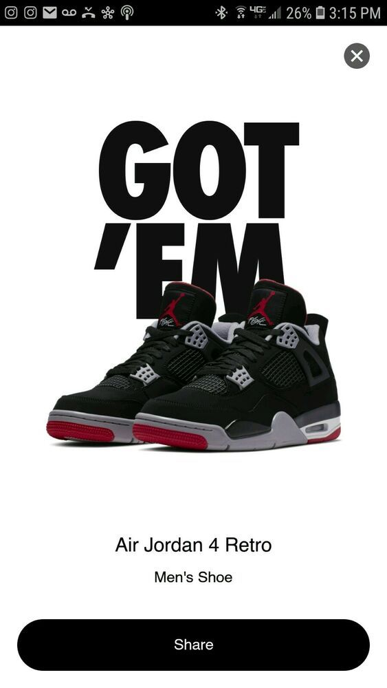 a019ddaa483 Air Jordan 4 OG Bred 2019 Size Mens 7.5 Black Cement IV  fashion  clothing