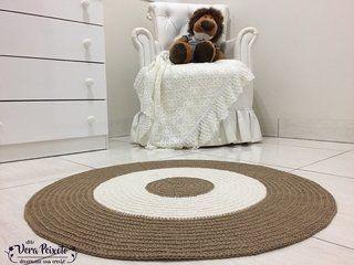 Tapete de crochê redondo marrom e off white - comprar online