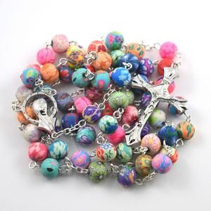 Catholic Rosary Beads, Coloured polymer clay round bead