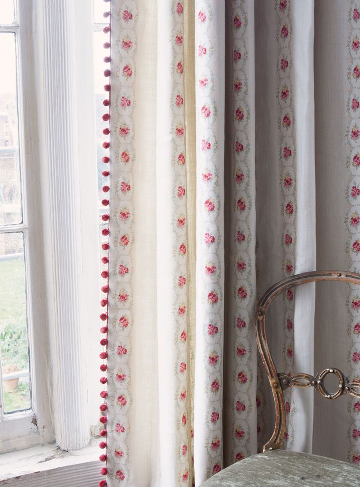 Cameo Rose curtains with our always popular red Pom Pom Trim. How utterly gorgeous would this be at your bedroom window! Lovely home decor inspiration.