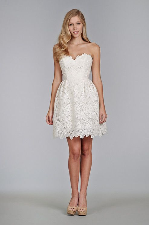 Short lace wedding dress by Tara Keely, Spring 2014