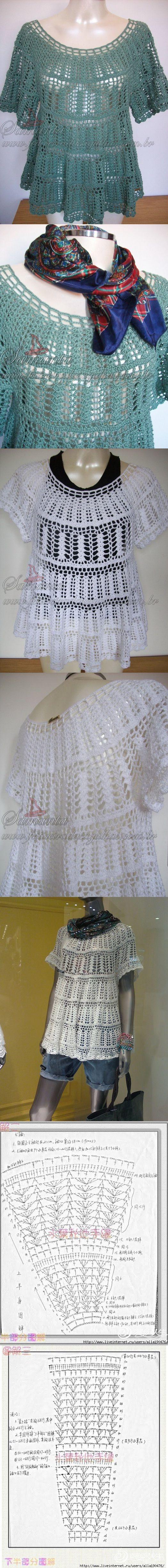 #Crochet tunic! perfect! (diagrams) crochet jacket #2dayslook #crochetfashionjacket www.2dayslook.com