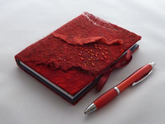 A6 Hand felted Notebook  Red Waves by LittleDebFelts on Etsy.  See more photos of how this item was made at:  www.facebook.com/LittleDebFelts