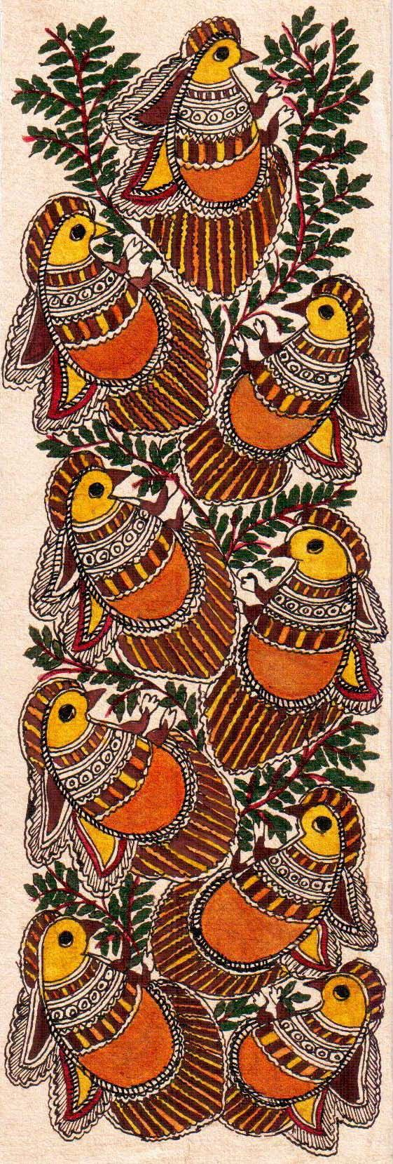 Madhubani or Mithila Paintings are said to have originated during the period of Ramayana, when King Janaka commissioned artists to do paintings during the wedding of his daughter, Sita to Lord Ram. The paintings usually depicted nature and Hindu religious motifs, the themes generally revolve around Hindu deities.http://handicrafts.exoticabazaar.com/view/4831-7-bird106.html