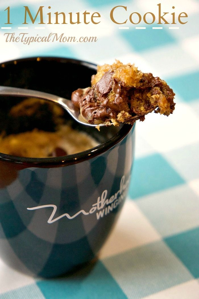 Chocolate chip cookie in a mug that just takes one minute and it's done! Perfect cookie for one when you just want a little something sweet at night.