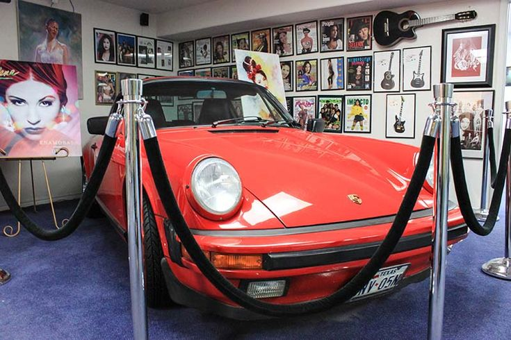 Selena's shiny red Porche at the Selena Museum in Corpus Christi