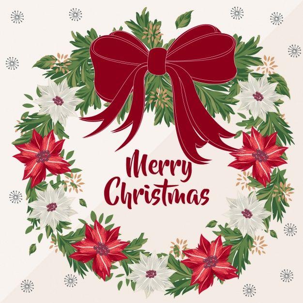 Рождественские фон с фантастическим цветочный венок Бесплатные векторы